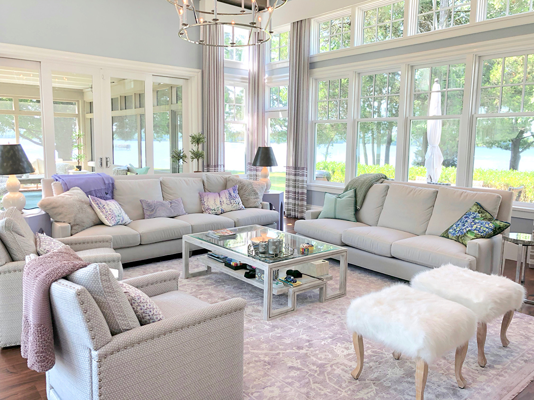 Coastal Interior Design by Fiona Newell Weeks featuring pops of purple and natural light along the waterfront of St. Michaels, MD